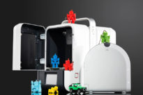 up mini 2 3d printer with colourful toys