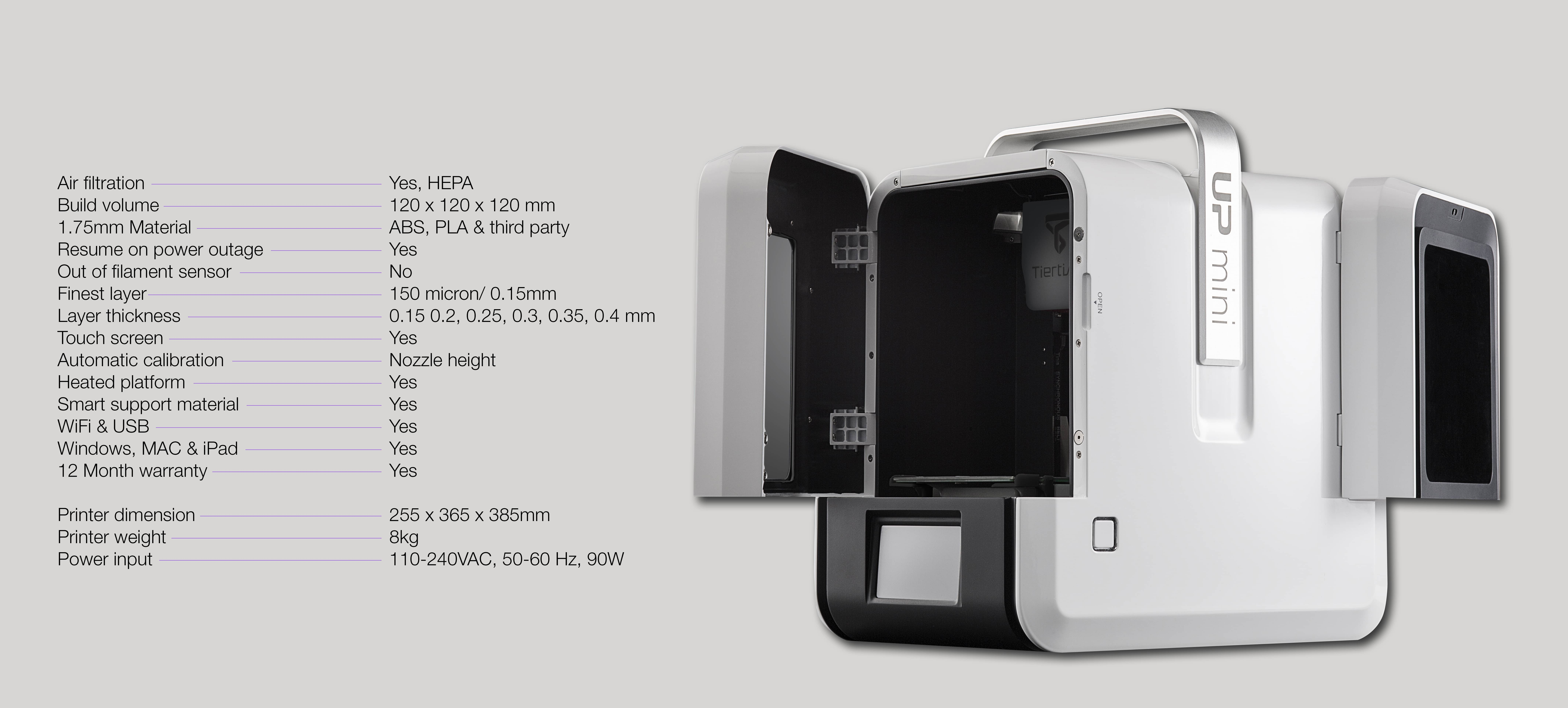 Full 3D printing specifications for UP Mini 2 3D printer